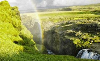 Rainbow in icelandic canyon